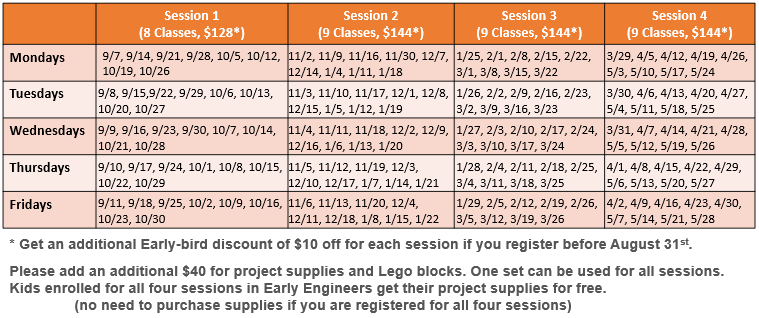 Early Engineers Schedule